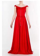 Платье красное длинное на молнии DOMANOFF
