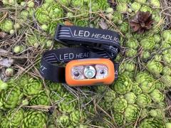 Туристический налобный фонарик на аккумуляторе, с