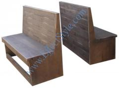 Benches made of natural wood
