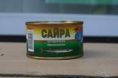 Canned food fish saury natural