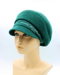 Женская кепка осеняя из кашемира зеленая