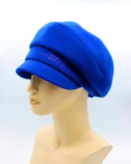 Женская кепка осеняя из кашемира синяя электрик