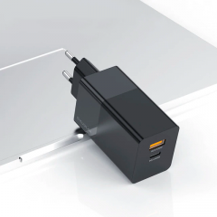 Зарядное KUULAA GaN QC4.0 Type-C+USB 65W EU...