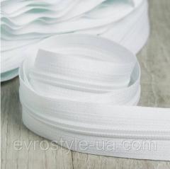 Рулонная молния тип Т6 (лента витая №5) цвет белый