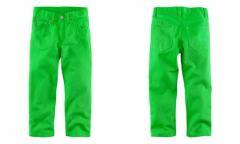 модные зеленые джинсы на 1, 5-8 лет