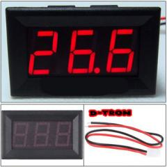 The digital voltmeter with red figures