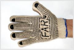 Трикотажные перчатки c ПВХ-нанесением