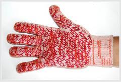 Трикотажные перчатки с ПВХ нанесением «Елка»