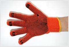 Трикотажные перчатки с ПВХ-точкой (Китай)