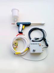 The gun for powder paint tribo-electrostatic