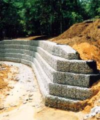 Gabions for strengthening of coast and slopes of