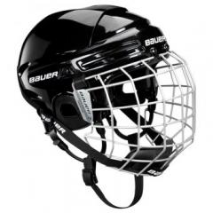 A hockey helmet with a BAUER 2100 combo mask for