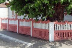 Art reinforced concrete fence in Zhytomyr.