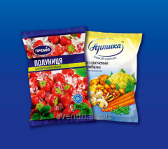Packaging for the frozen products: pelmeni, fruit