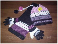 Children's set a cap a glove scarf for girls