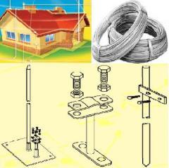 Молниеотвод оцинк 6,0-8,0-10,0мм, полоса, крепеж - для громоотводов, сеток молниезащиты домов, промышленных объектов. Мотки по 50 кг. Произведена согласно стандарту PN-EN 50164-2 или PN-75/M-80051. Слой  цинка: min 350 гр./кв.м.(Z350).