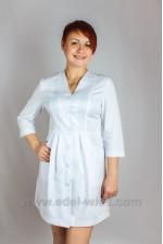 Женский медицинский халат без воротника с