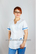 Women's medical suit with tear-shaped cut and