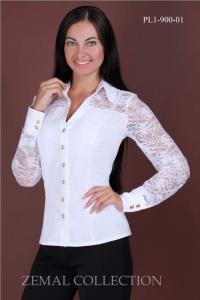 Блузка белая с гипюром PL1-900