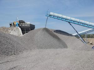 Crushed stone of rocks. Granite crushed stone.