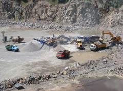 Granite. Production of granite crushed stone.