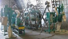The equipment for production of grain and flakes from all types grain