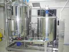Production line of cosmetic creams and shampoos