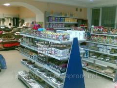 Racks for shops of pet goods.
