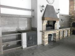 Facing of fireplaces, barbecue from a natural