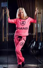 Спортивный костюм chanel розовый в риску 1021