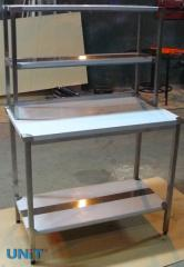 Tables with the top shelf from stainless steel