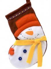 New Year's (Christmas) sock Snegovichok.