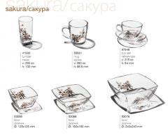 Glasswares a Sakura / Oriental cherry, sets,