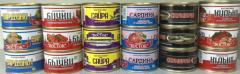 Canned food of the fish fried in oil from the