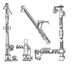 Screw conveyor, features of configurations