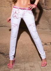 джинсы белые с отделкой