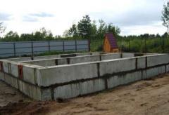 Hollow base blocks reinforced concrete, concrete