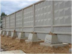 Blocks for a fence reinforced concrete, concrete