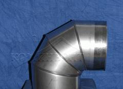 """Колено 90° состоит из четырёх поворотных элементов трубы, позволяющих установить необходимый угол поворота ( направления дымохода ) : от 0 до 90º, соединяется с элементами системы без дополнительного крепления:""""труба в трубу"""""""