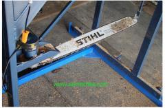 Power-saw bench chain tire for longitudinal log