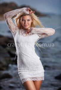 Женские платья гипюровые бант белые оптом Украина