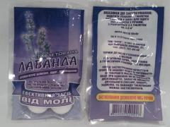 Tablets from moth in assortment (on natural oils)