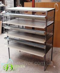 Cage quail three-storied for gathering incubatory