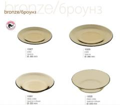 Ware from the tempered glass Bronze / Brounz