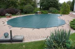 Trampoline Shield covering the pool