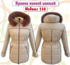 Female down-padded coats from the producer