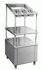 Прилавок для столовых приборов и подносов в