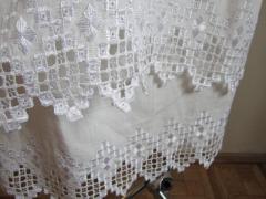 Wedding bed from flax, handwork, pattern -