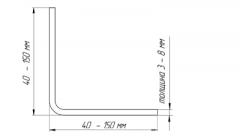 Corner holodnokatanny steel bent 100x100x5