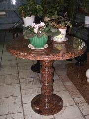 The table is granite round